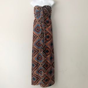 Band of Gypsies Diamond Print Boho Maxi Dress EUC